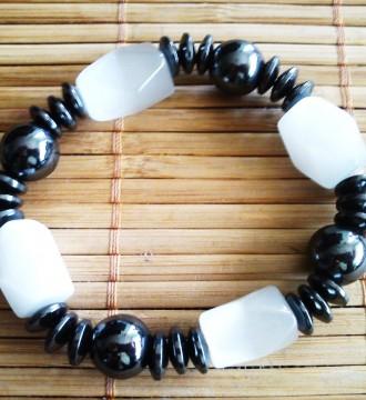 Pulsera acero con piedras blancas