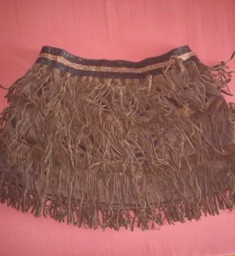 falda de flecos marrón talla única