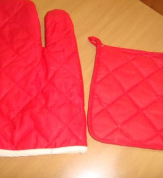 conjunto manopla y paño rojo