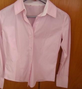 camisa rosa y blanca rayas
