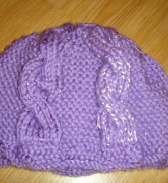 gorro lana lila