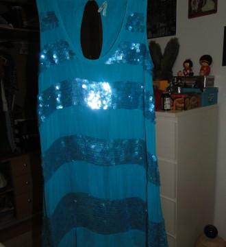 Vestido lentejuelas azul, años 20 de PEPE JEANS -M