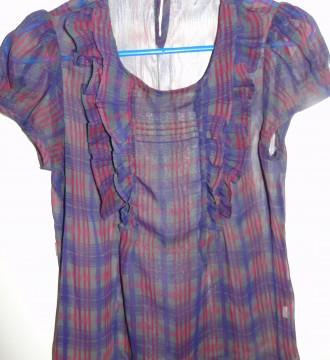 Blusa de cuadros lila de Topshop