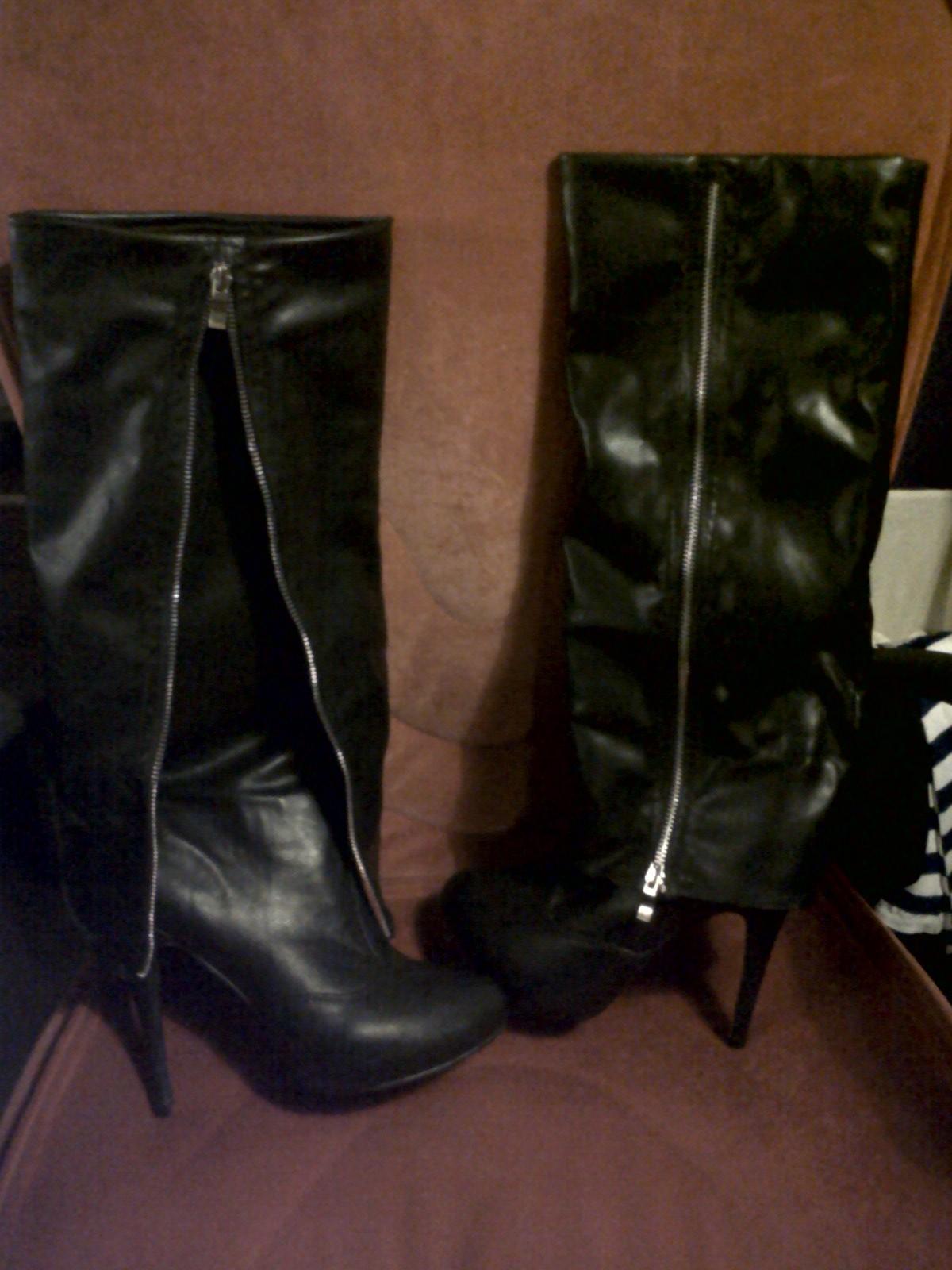 botas negras de falsa piel con cremallera lateral
