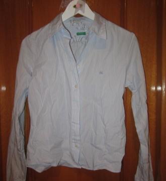 Camisa azul y blanca Benetton tallaS