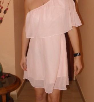 Vestido de gasa color nude, 36