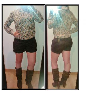 Pantalón corto marrón oscuro. Bershka 38-40