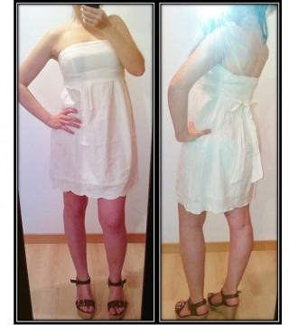 Vestido blanco palabra de honor. Bershka S-M