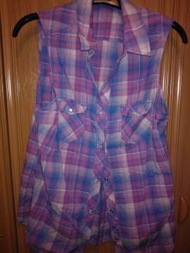 Camisa cuadros rosas y azules sin mangas.H&M. T.40