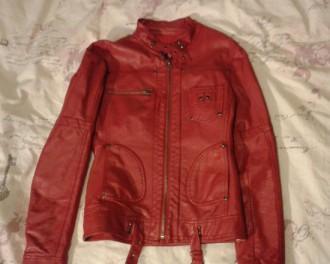 Cazadora chupa chaqueta polipiel roja burdeos M