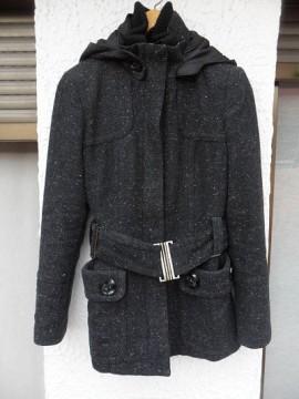 Chaquetón gris jaspeado Zara T-S
