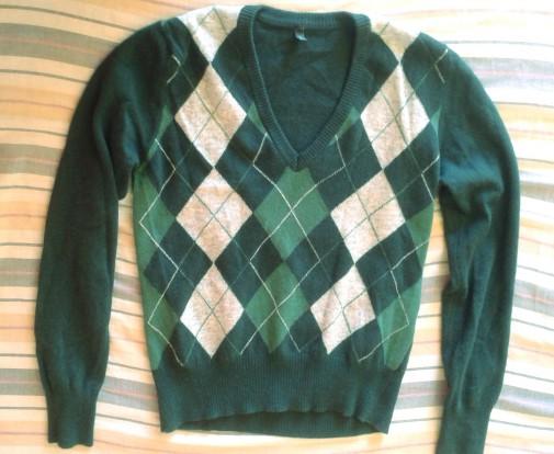 Jersey lana Benetton cuadros verde sin estrenar
