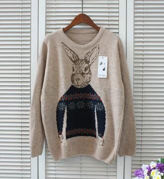 Jersey conejo vintage beige punto pullover S