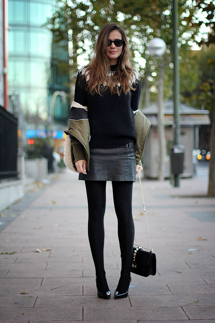 Black leather skirt zara