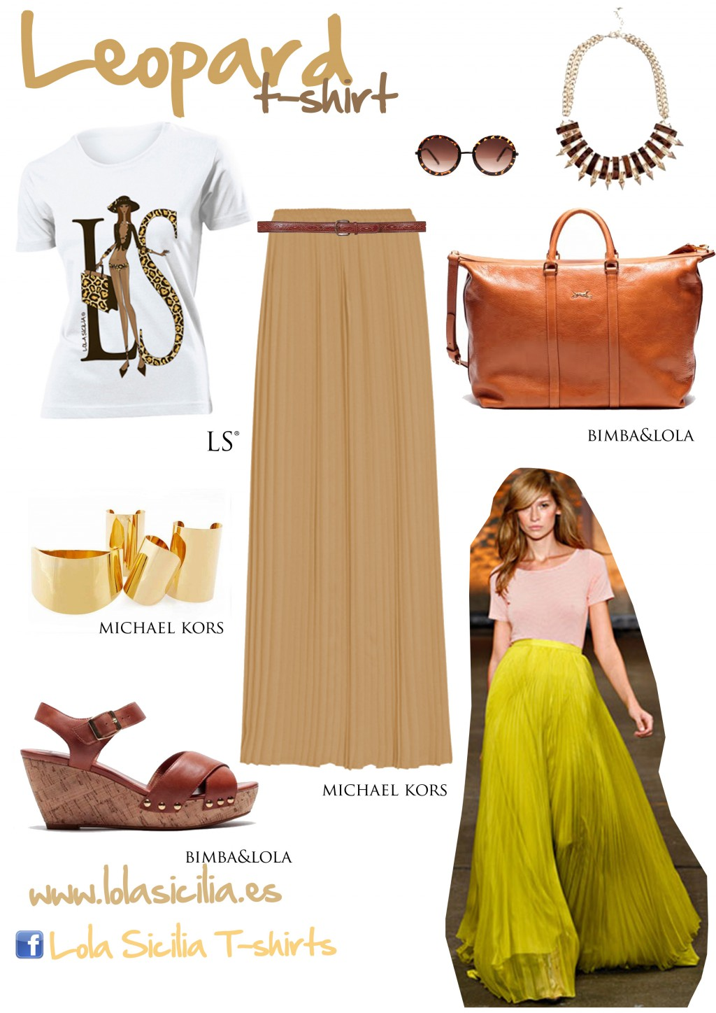 Look of the week: Long Pleatted Skirt + Leopard T-shirt-312-lolasicilia