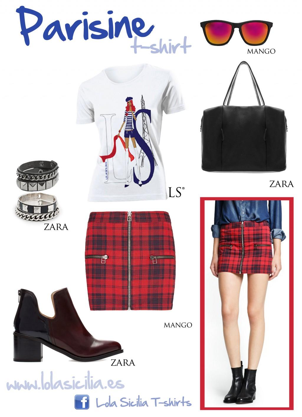 Look of the week: Falda Tartan + Parisine T-shirt-370-lolasicilia