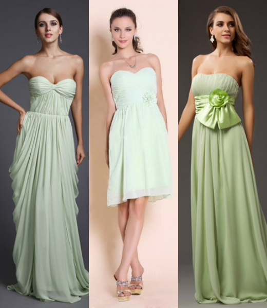 Top 4 trends of green bridesmaid dresses 2015 bridesmaid for Pastel green wedding dress