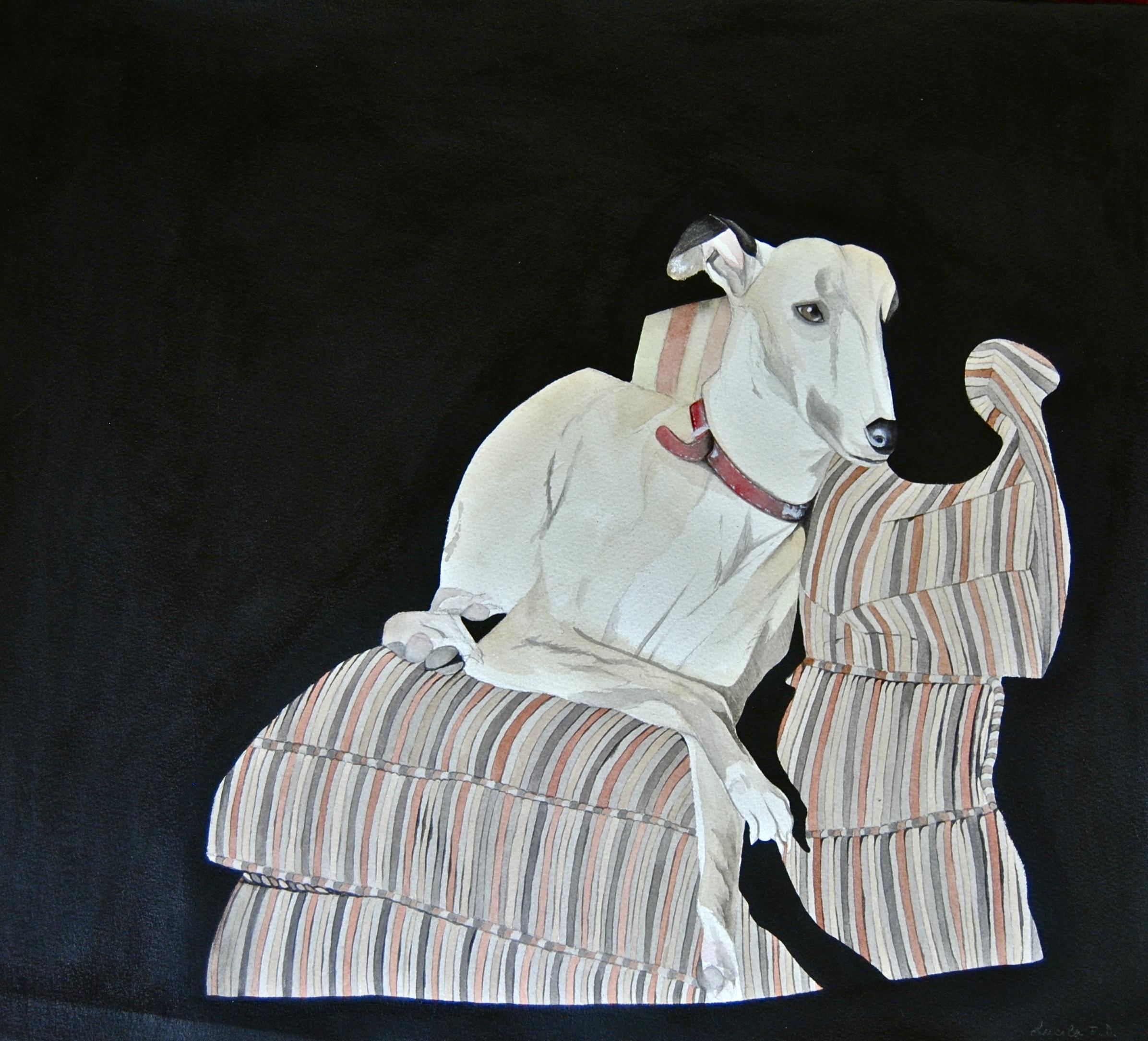 Mollie en el sofá. Acuarela y acrílico sobre papel. 2012.