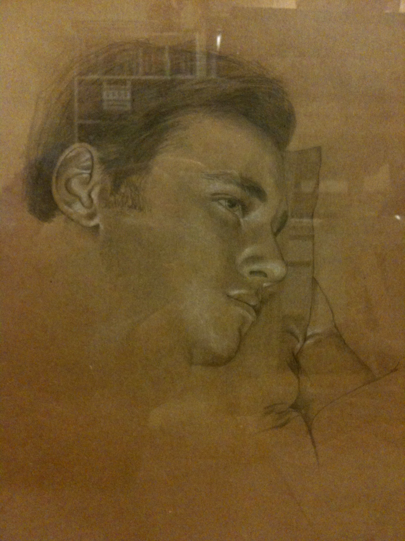 La siesta. Lápiz y carboncillo blanco sobre papel. 2012.