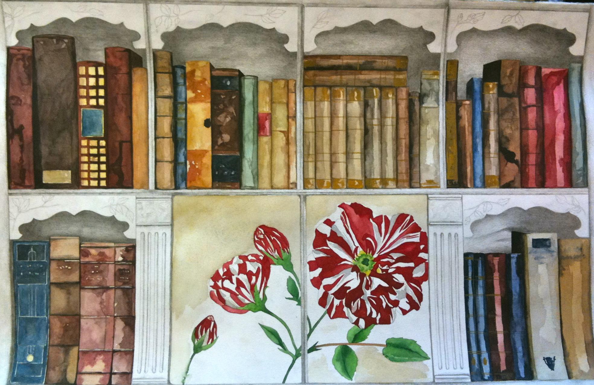 Biblioteca (regalo de boda). Acuarela y lápiz sobre papel. 2011