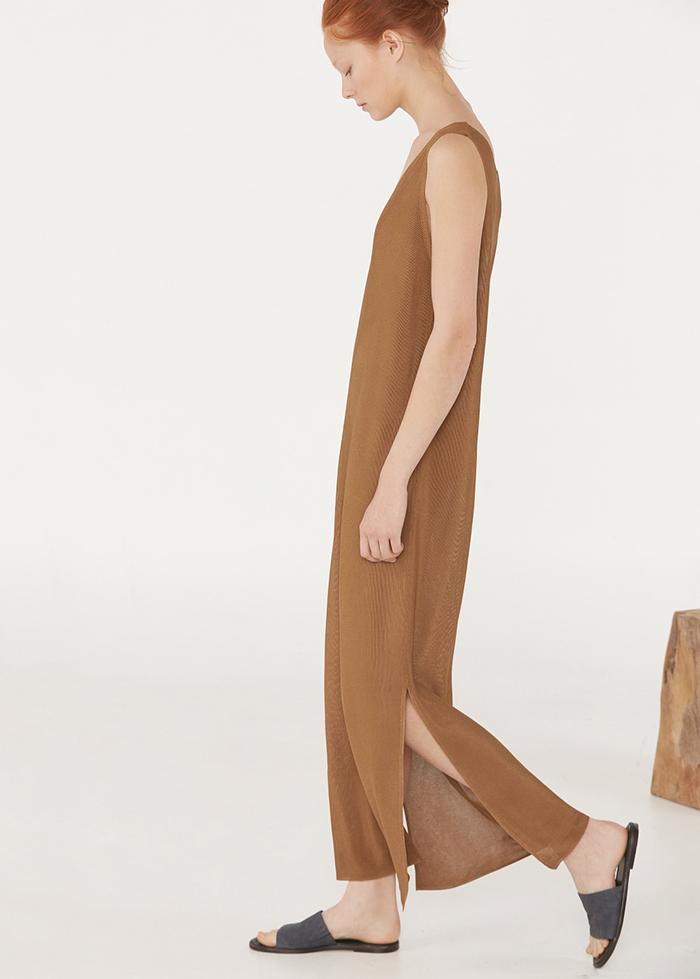Vestido punto marron mango