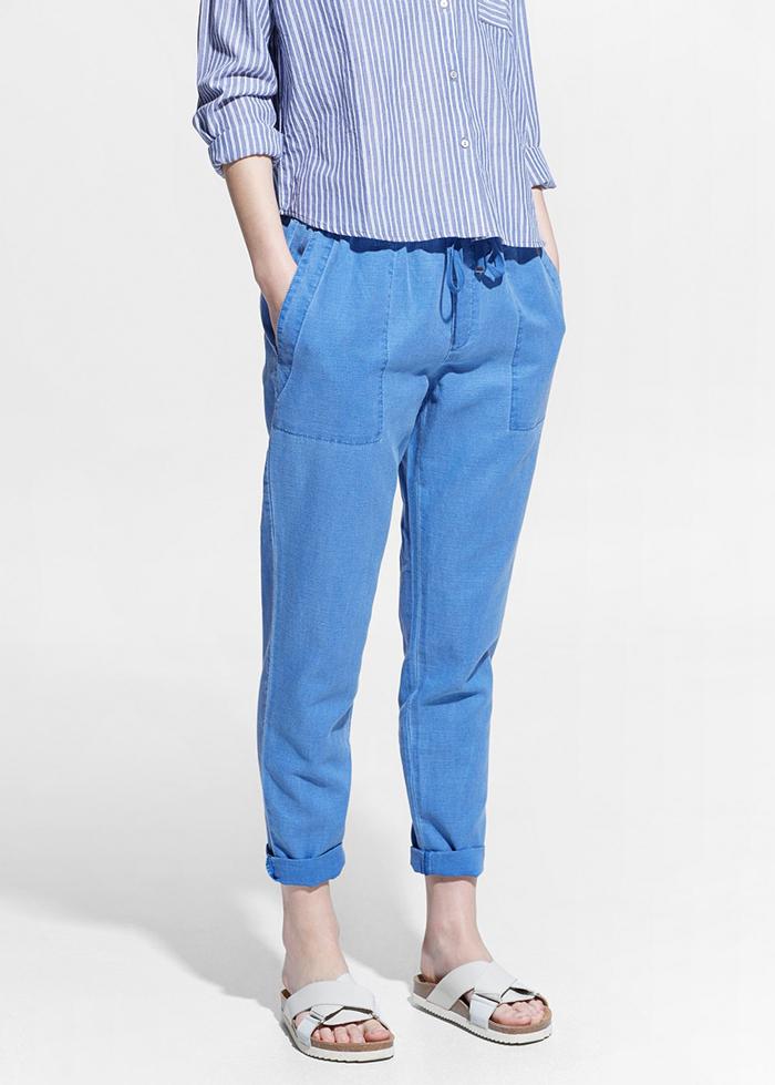 Pantalon de lino azul mango