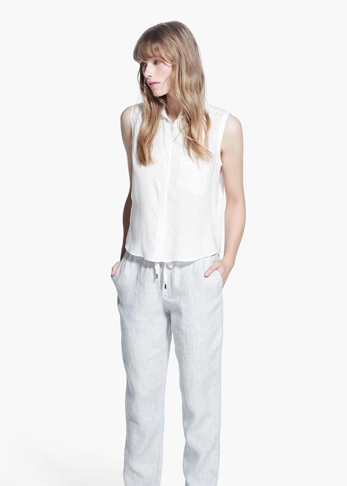 Pantalón lino blanco mango