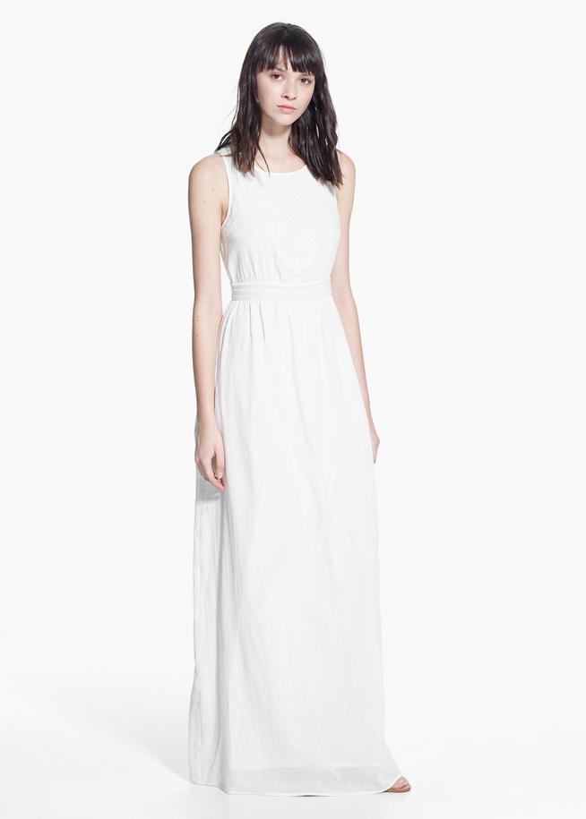 2d876ebd0a Vestido blanco largo mango - Vestidos largos
