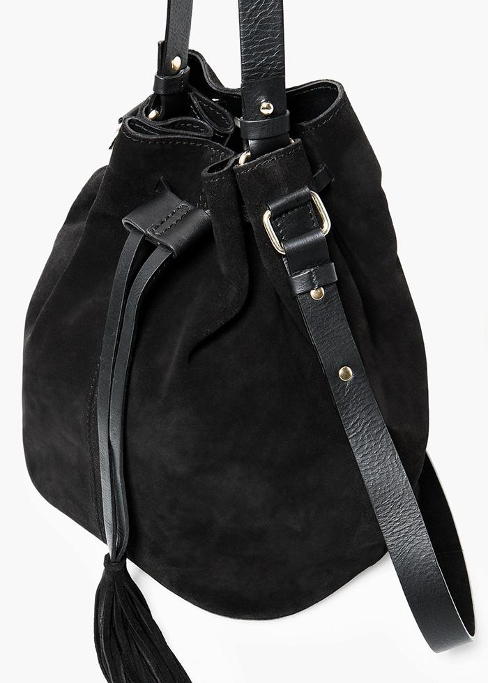 Bolso saco serraje negro mango