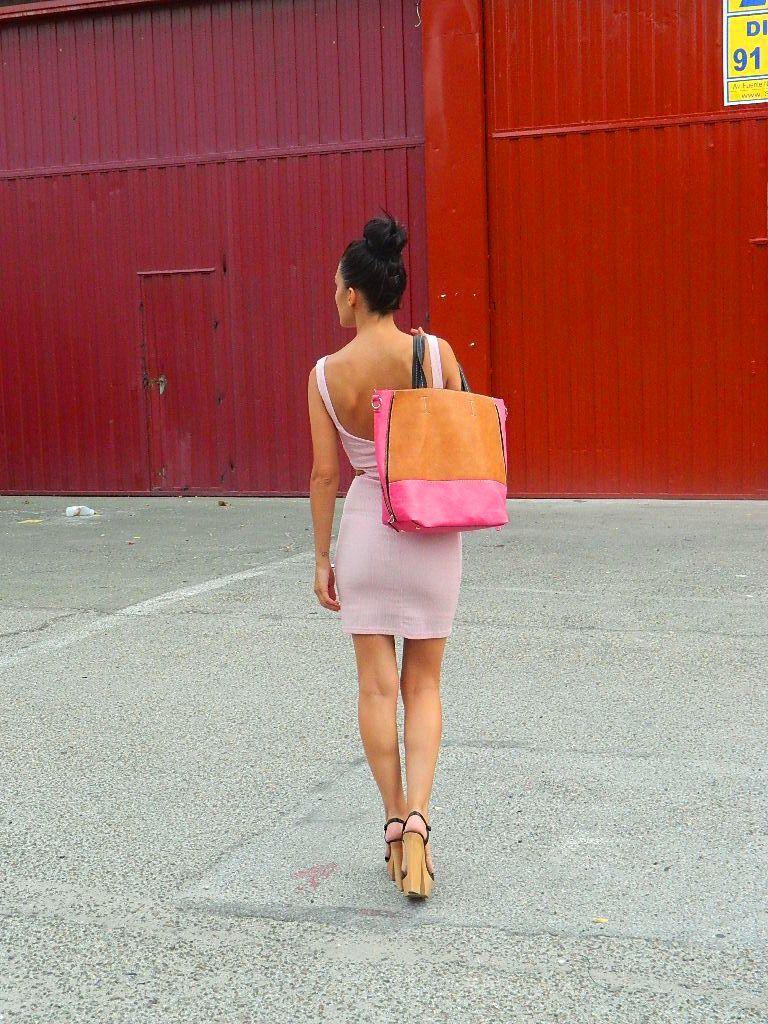 Vestido noche rosa palo 002