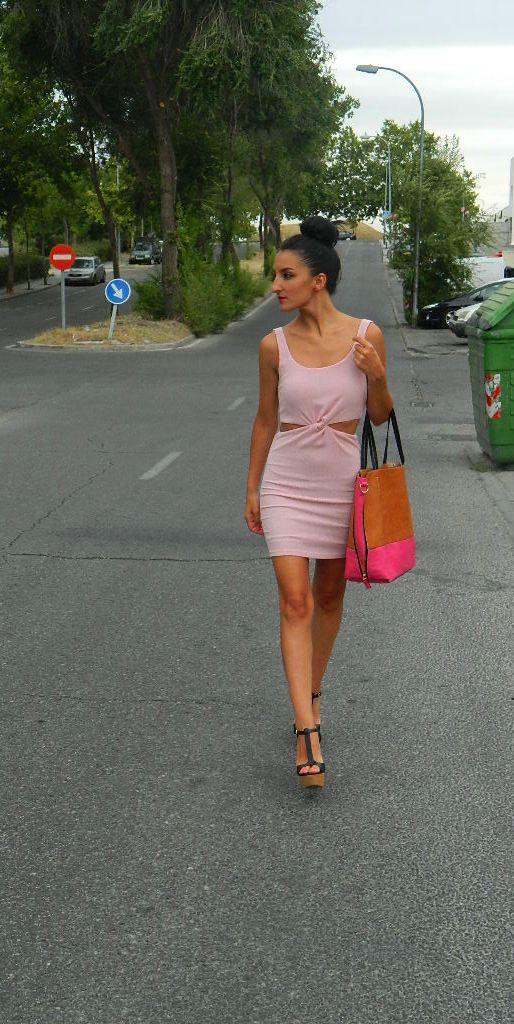 Vestido noche rosa palo 006