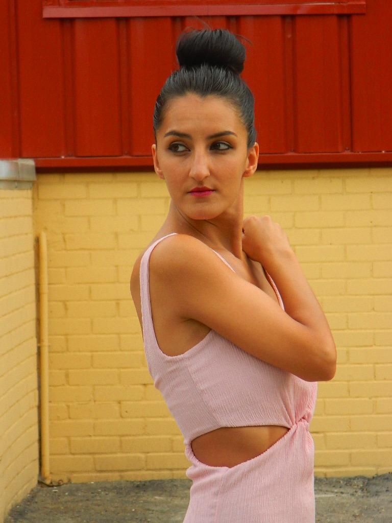 Vestido noche rosa palo 009