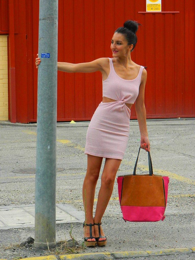 Vestido noche rosa palo 012