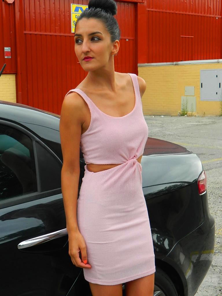Vestido noche rosa palo 014