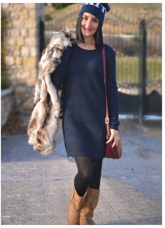 Abrigo / coat: Sfera (old) Vestido / dress: Mango Botas / boots: Shana Gorro / beanie: H&M Bolso / bag: Bershka