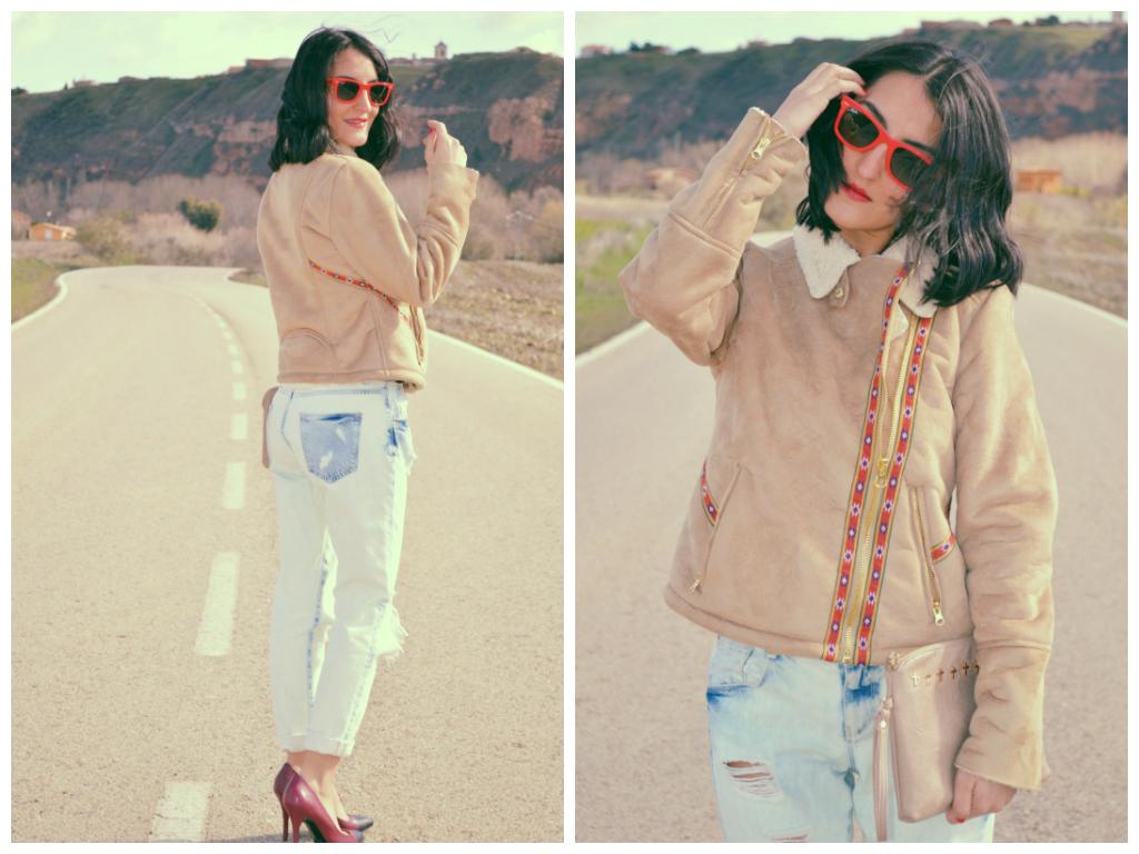Chaqueta / jacket: Lefties Boyfriend jeans: Zara Stilettos: Mango Clutch: Suiteblanco Gafas de sol / sunglasses: Ray ban wayfarer