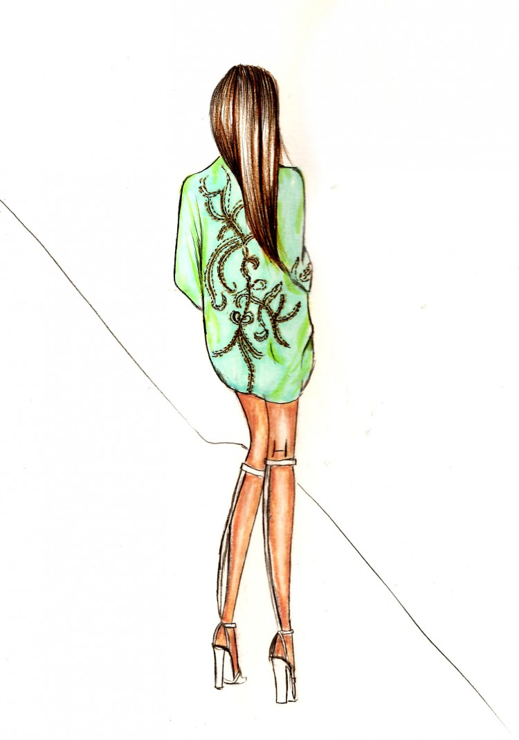 Fashion illustration. Kimono bomber-50007-