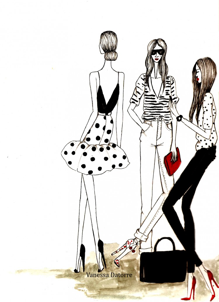 Fashion illustration street style