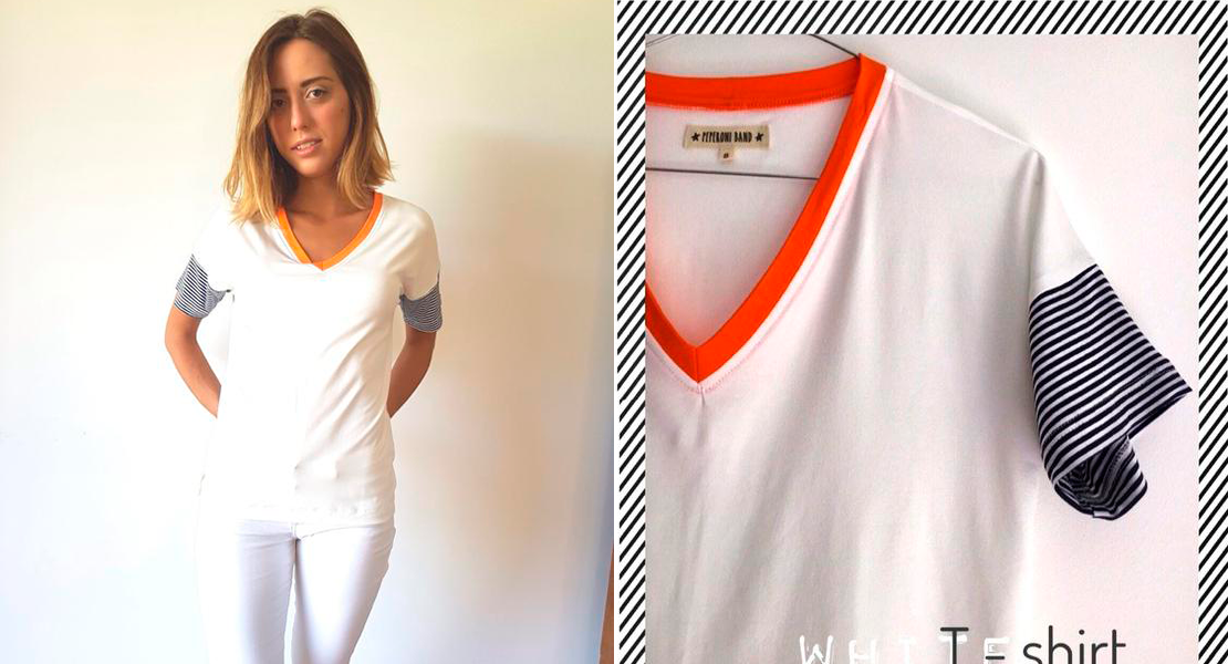 camisetas blanca de peperoni band