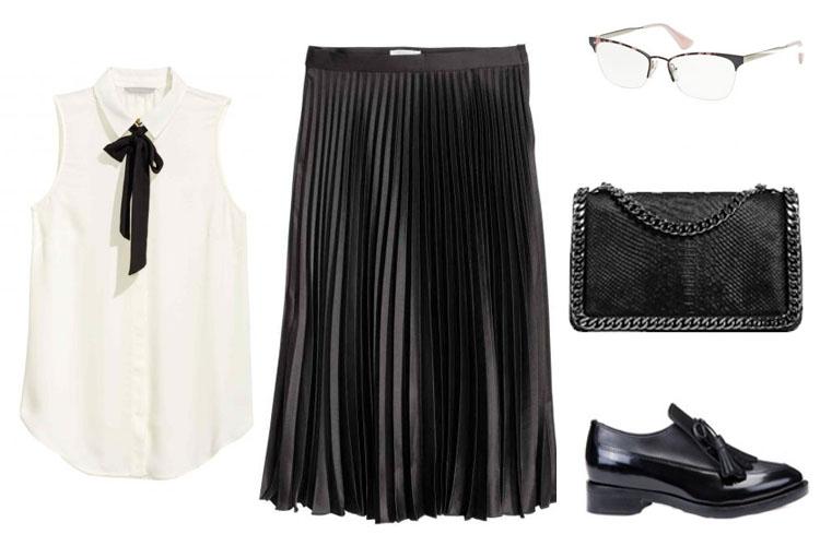 Look del día con falda negra plisada-1742-asos