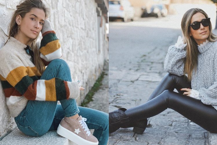 María Pombo con zapatillas