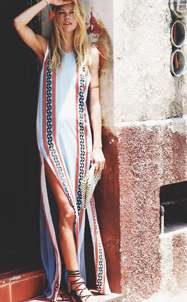 Look playero con vestido largo