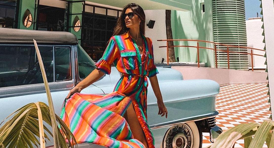 vestido multicolor estilo camisero