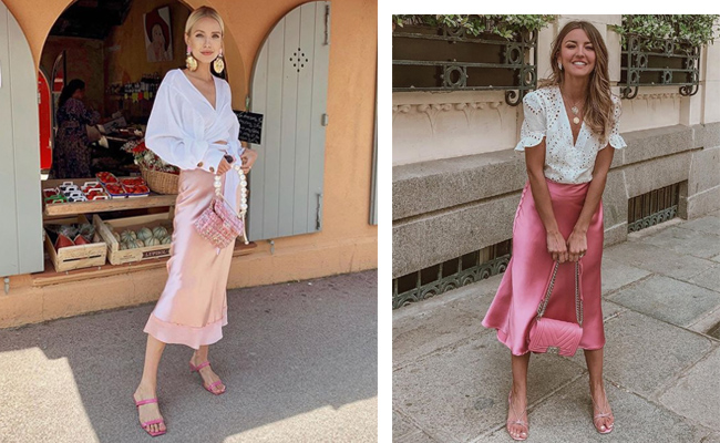 Looks de influencers con faldas de satén