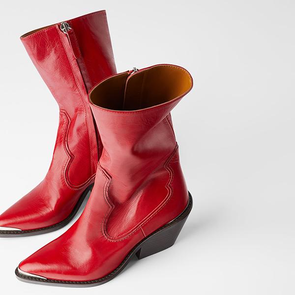 Botas cowboy rojas de Zara
