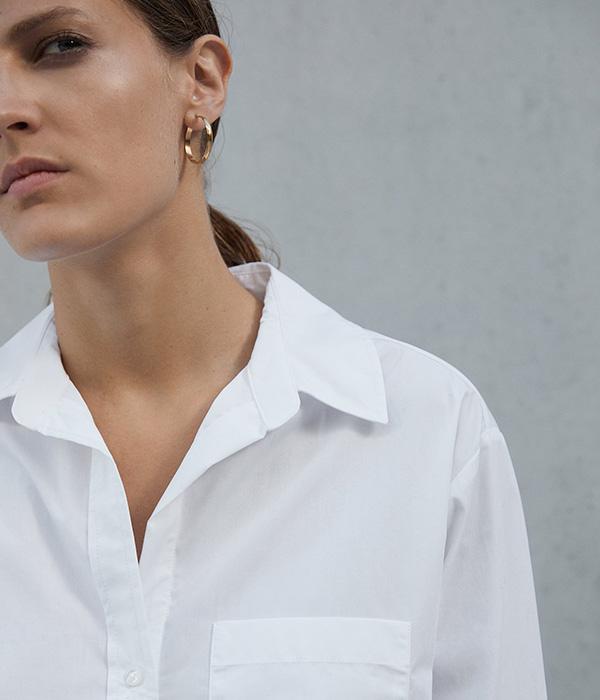 Camisa blanca de Zara en Plaza Mayor