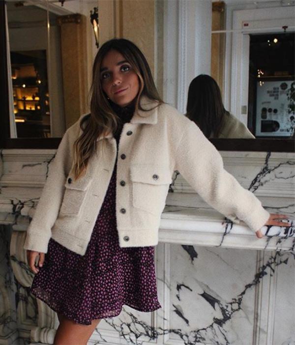 Inés Arroyo con chaqueta de borrego
