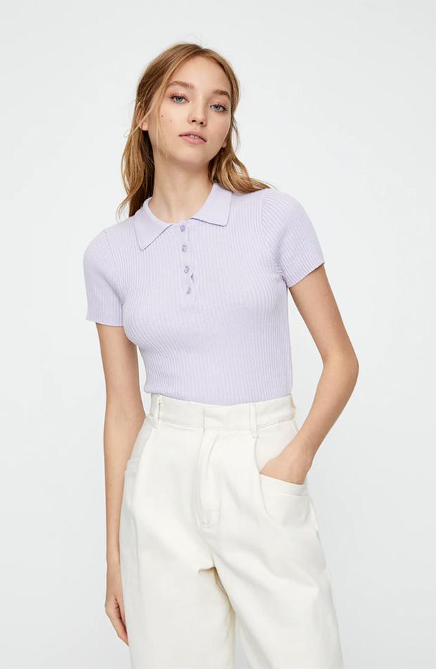Polo en color lila de Pull & Bear