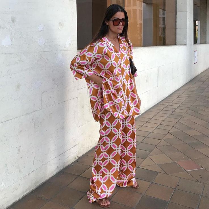 sandra rodrigues conjunto pijama estampado de zara camisas para verano