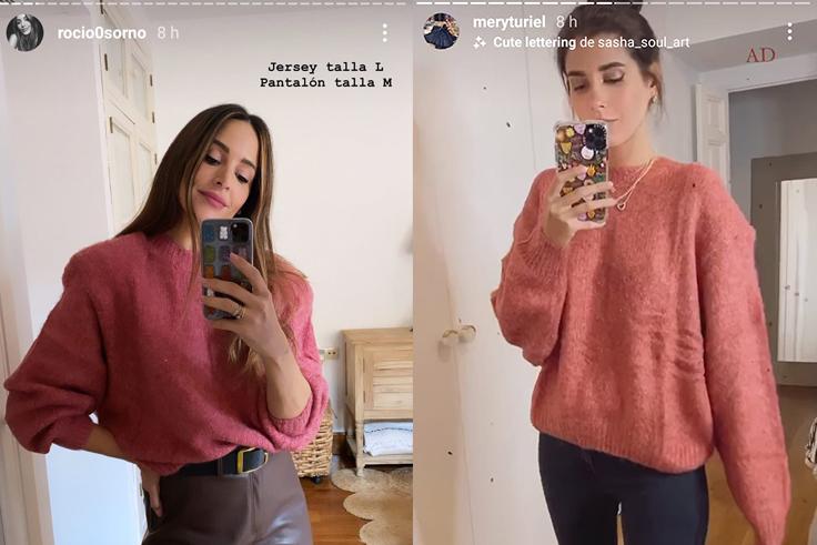 @rocio0sorno y @meryturiel jersey rosa novedades de pull & bear